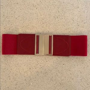Accessories - Red Elastic silver clasped belt